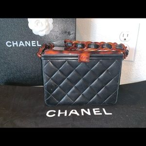 Authentic Chanel quilted resin pill box clutch bag